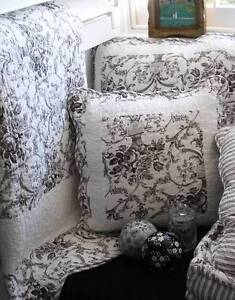 shabby french country black toile paris chic sofa couch throw quilt cushion nw ebay. Black Bedroom Furniture Sets. Home Design Ideas
