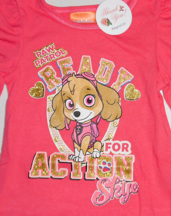 Paw Patrol Skye Toddler Girls 4T Gold Glitter Long Sleeve T Tee Shirt Top Pink
