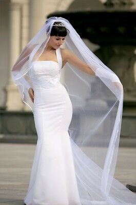 Bridal Veil Diamond (Off) White 1 Tier Cathedral Length1/8in Satin Cord Edge  (Diamond White Veils)