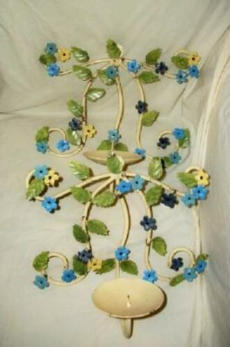 ITALIAN TOLE CANDLE SCONCE PAIR FRENCH COLORS BLUES YELLOW VINTAGE MID CENTURY