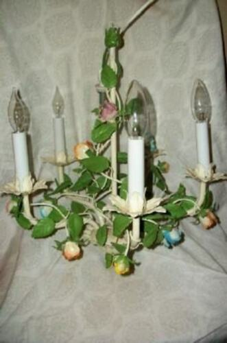 ITALIAN TOLE ROSES CHANDELIER SWAG 5 LIGHT FRENCH STYLE ORIGINAL FINISH VINTAGE