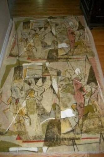 COHAMA ABSTRACT BARKCLOTH FABRIC TABLECLOTH FIGURAL IMPRESSIONIST MID CENTURY