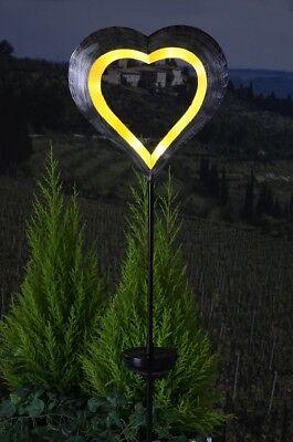 Solar schwebendes Herz gelb Solarleuchte Deko Garten Beleuchtung Liebe C Ware
