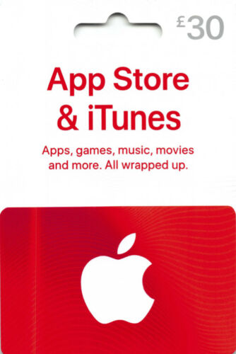 iTunes Gift Card £30 GBP UK British Apple App Store  Code £30 Pound  | 2 x £15