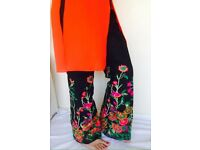 Floral Embroidered Bell Bottom Trouser