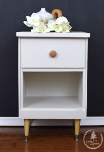 End Table, Bedside Table, modern, soft, white