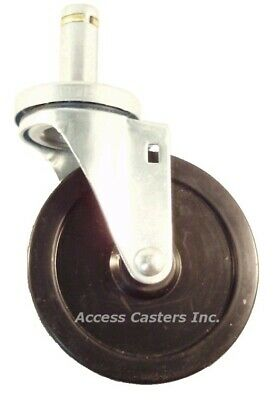 5drps 5 Wire Post Stem Swivel Caster For Metro Shelves Soft Rubber Wheel