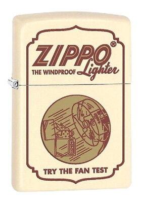 ZIPPO Feuerzeug ZIPPO TRY THE FAN TEST White matte Zippo Logo Ventilator NEU OVP - Fan-test