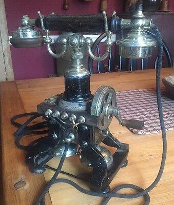 "Antique L.M. Ericsson 16 Skeleton magneto spider ""Eiffel Tower"" Telephone phone"