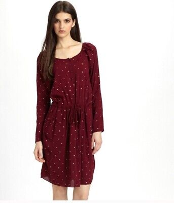Rebecca Taylor Nailhead Dress Long Sleeves Wine Red Rayon Size 2