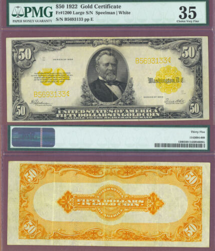$50 1922 GOLD NOTE FR1200 PMG 35 Rare Choice Very Fine Exceptionally Clean! U133