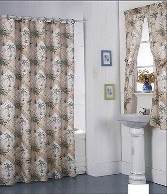 Palm Shower Curtain (Shower Curtain Drapes + Bathroom Window Set  Liner+Rings California Palm)