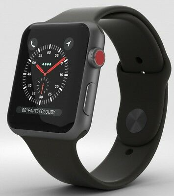 Apple Watch Series 3 42mm Space Gray Aluminium w/Black Sport Band GPS & Cellular