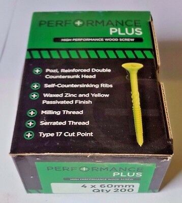 4 x 60mm PERFORMANCE PLUS WOODSCREWS (Box of 200)
