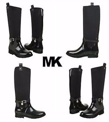 MICHAEL KORS Brea Charm Black Shiny Rubber Rain Boot Girls Kids Shoes Size 1