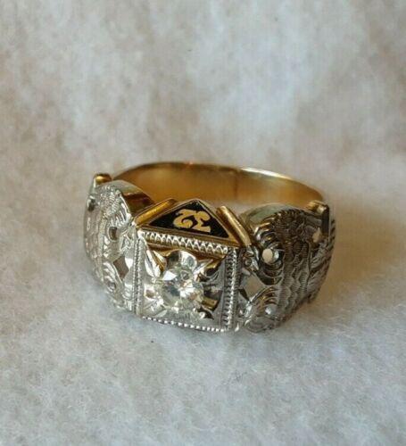 10K Gold 32nd Degree Double Eagles Masonic Ring w/Diamond Size 10 3/4
