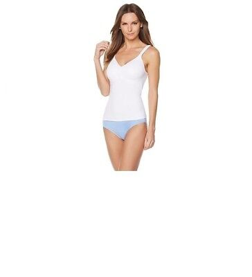 Rhonda Shear  Cotton Molded Cup Camisole-White-Medium-NWT