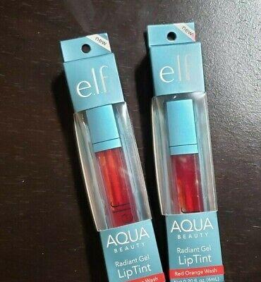 (2) e.l.f. Cosmetics ~Aqua Beauty Radiant Gel Lip Tint ~ Red Orange Wash!  Red Lip Tint