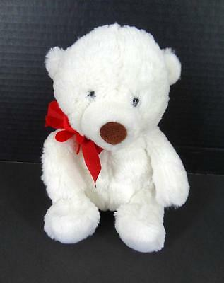 "HALLMARK Exclusive Lil Sweetheart Teddy Bear White w Red Ribbon Bow 8.5"" Plush"
