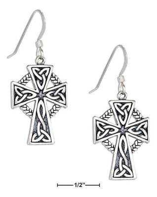 Genuine .925 Sterling Silver Trinity Knot Celtic Cross Earrings On French Wires