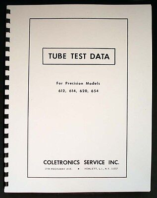 Precision Tube Test Data For 612 614 620 654 Tube Testers