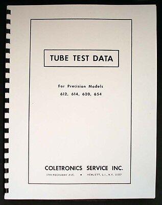 Precision Tube Test Data For 612 614 620 654 Tube Testers
