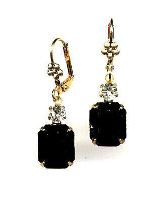 GORGEOUS Earrings with Swarovski Onyx Jet Black emerald-cut crystals 14K Gold gp