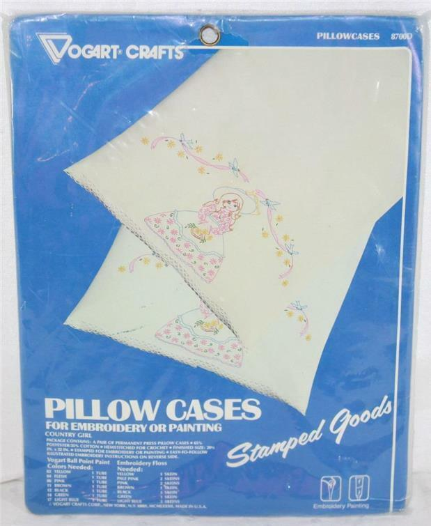 Vogart Stamped Cross Stitch # 8700D Country Girl Permanent Press Pillowcase Pair