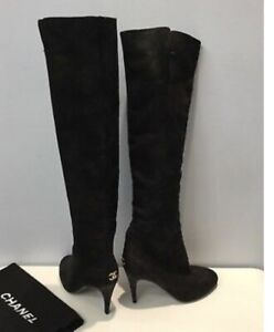 Chanel  black over the knee high boots with gold dusting 39.5