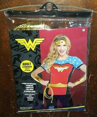 WONDER WOMAN 4pc Kit: Headband/Gauntlets/Belt w/Attached Lasso ~Adult - Wonder Woman Kostüm Kit