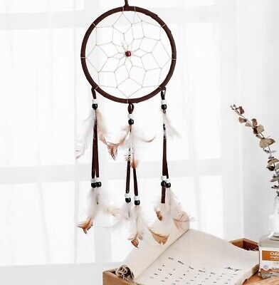 "Brown Dream Catcher White Feathers Wall Window Hanging Decoration Craft 18"" Long"