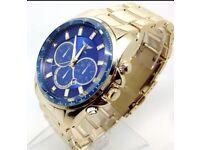 New Men's NY London Wrist Watch Gold Strap Chronograph Royel Blue Big Dial