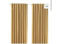 "IKEA Ocre Curtains (90"" x 54"") and Curtain Pole"