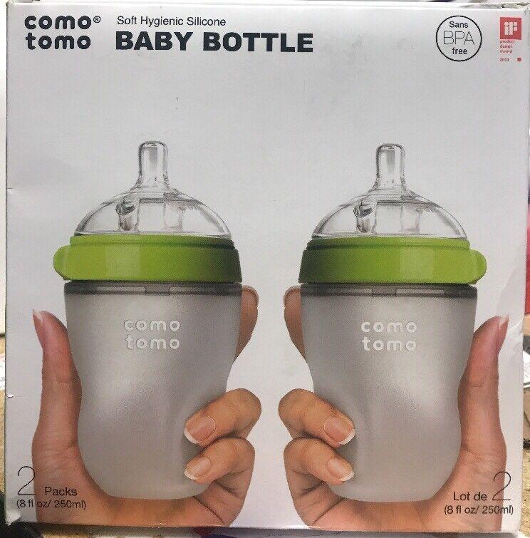 ComoTomo Baby Bottles, Medium Flow, Green, 8oz, 2 Pack New