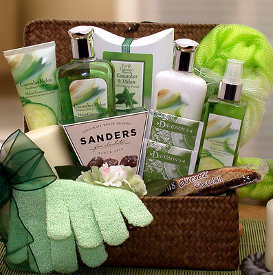 Gift Basket For Women   Cucumber Melon Spa Basket   Free Shipping