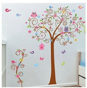 Large-Owl-Scroll-Bird-Tree-Wall-decal-Removable-sticker-kids-nursery-decor-mural