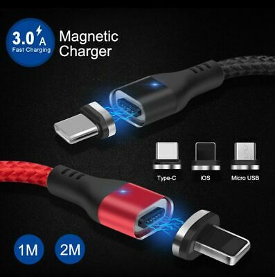 Magnetic Charger Data Sync For iPhone Type C Micro USB Fast Charging Cable Lead