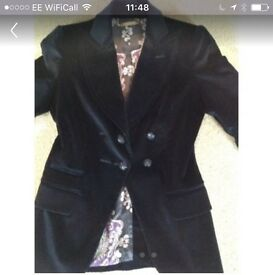 Stunning navy blue suede jacket, as good as new, worn once!