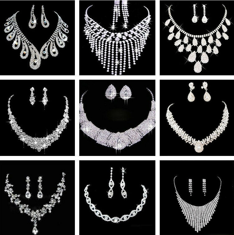 Jewellery - Prom Wedding Party Bridal Jewelry Diamante Crystal Pearl Necklace Earrings Sets