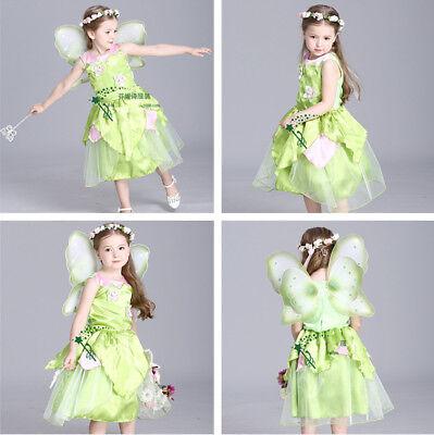 Tinker Bell Tinkerbell Dancewear Costume Kids Girls Anime Dress Cosplay Carnival (Tinkerbell Winter Costume)