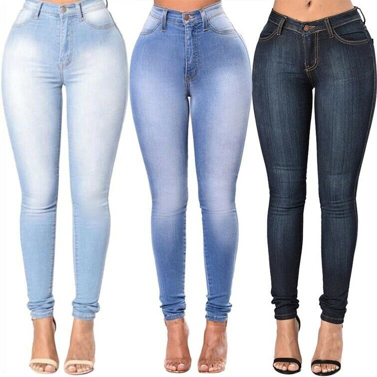 Pantalones Jeans Vaquero Para Mujeres Lavado Skinny Jeans Slim Fit Levanta Cola Ebay