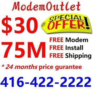 FREE Wireless  modem & FREE Shipping , 75M unlimited internet only $30/month. NO Contract .Call 416-422-2222 to order