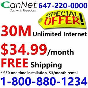 LOWEST price - Unlimited internet plans starting from 30M $35/month,or 100M for $55/month, No contract, $30 installation