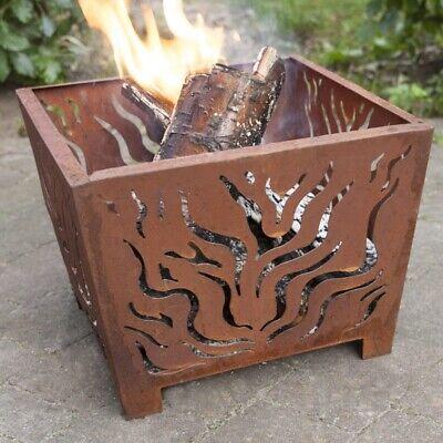 Square Rust Fire Basket Laser Cut Flame Design Fire Pit