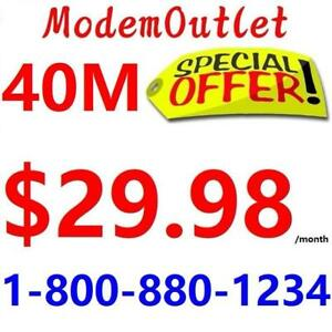 FREE installation & LOWEST PRICE 40M internet - $30/month. Please Call 1-800-880-1234 or SMS 416-822-8888 to order