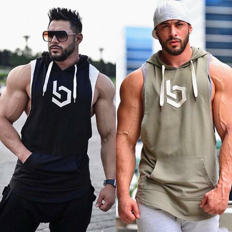 Men Sleeveless Hoodie Hooded Workout Gym Training Tank Top Running Sport Vest