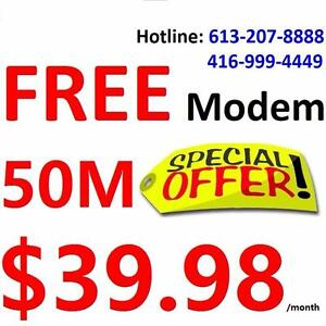 FREE Wireless VDSL Modem + FREE Dry loop + FREE Shipping , Unlimited 50M internet for $39.99/month, Call 613-207-8888