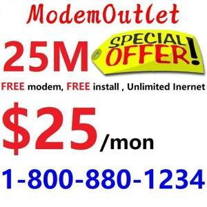 LOWEST PRICE 25M Unlimited Internet $25/month, free modem, free installation. Call or SMS 1-800-880-1234 or scan QR code
