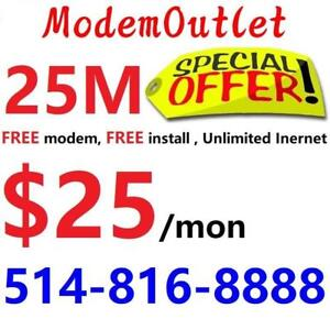 LOWEST PRICE 25M Unlimited Internet $25/month, free modem, free installation. Call or SMS 514-816-8888 or scan QR code
