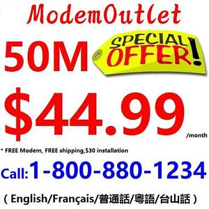 Unlimited 50M internet $44.99/month, FREE Modem,FREE Shipping, FREE Dry loop, NO contract. Please call 1-800-880-1234